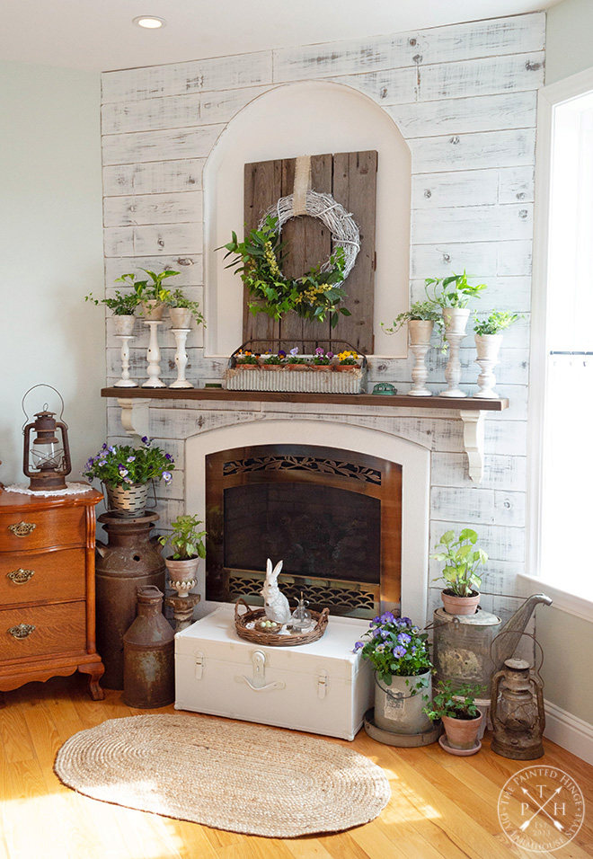 Farmhouse Spring Mantel in the Master Bedroom