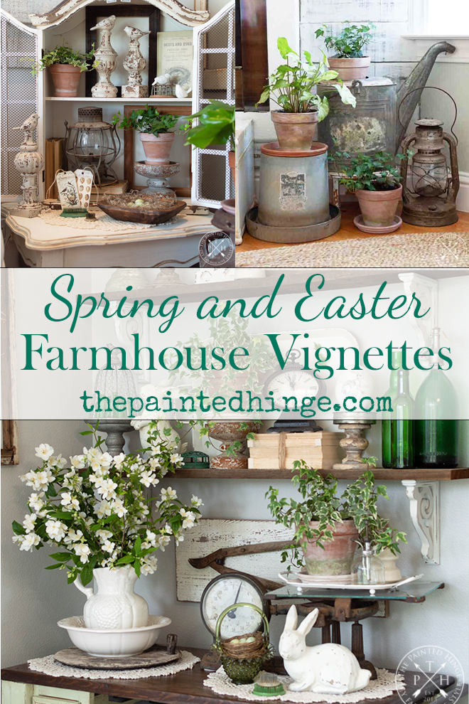 spring and Easter farmhouse vignettes, Easter vignettes, spring vignettes, Easter farmhouse decor, spring farmhouse decor, Easter decor, spring decor