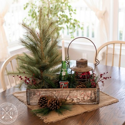 Vintage 7UP Crate Christmas Centerpiece