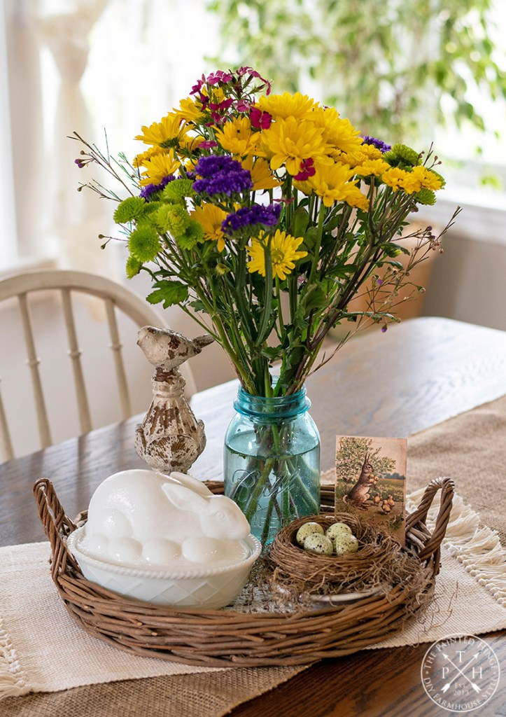 Easter Centerpiece Featuring a Milk Glass Bunny Candy Dish