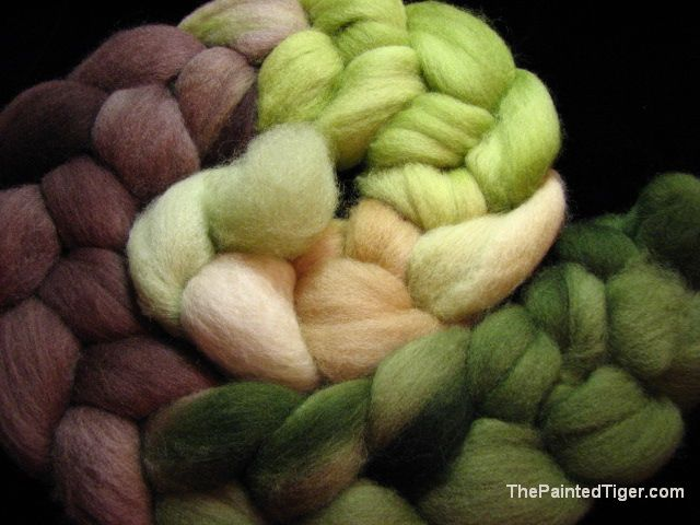 Hand Dyed Falkland Wool Greens and Browns