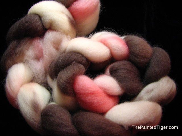 Hand Dyed Falkland Wool Combed Top Pink White Brown