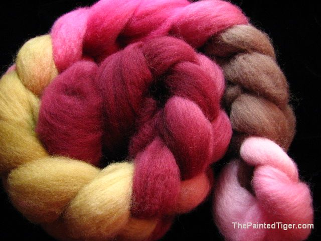 Hand Dyed Falkland Wool Combed Top Pinks and Browns