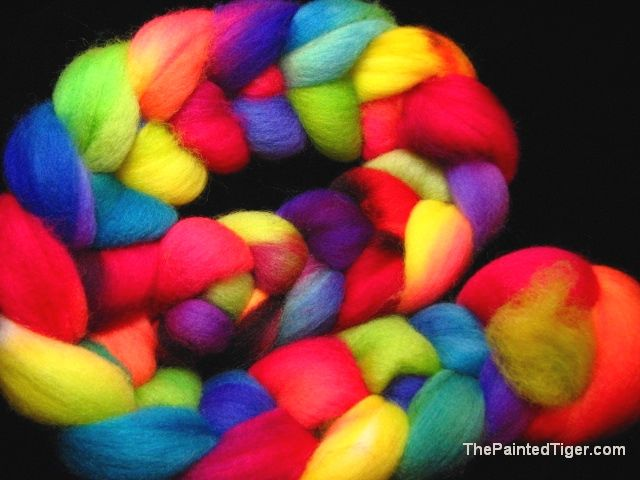 Tropical Rainbow Hand Dyed Falkland Wool