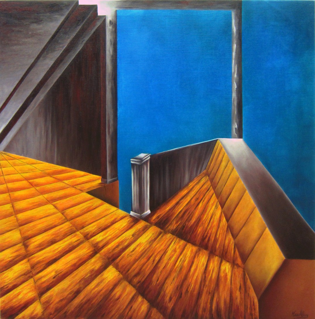Who can not dance says the room is crooked oil on canvas - 90x90 cm