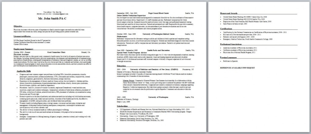 pa resume examples