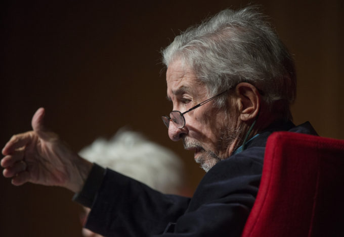 "Tom Hayden, speaking in April 2016. At the time he was not just talking about the Vietnam War and its opponents, but looking forward to criticize the ""Long War"" against inanimate concepts rather than people or nations that neoconservative operatives, some Pentagon strategist and of course those who sell military weapons are advocating. Photo by Jay Godwin / LBK Library"