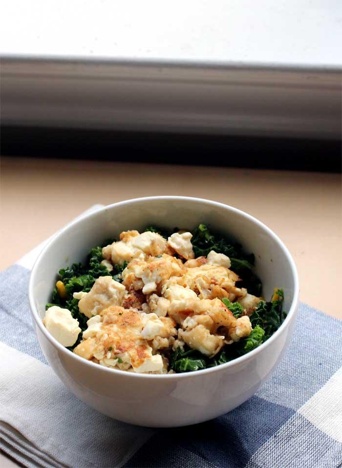 Pan-fried Tofu Kale Bowl // The Pancake Princess