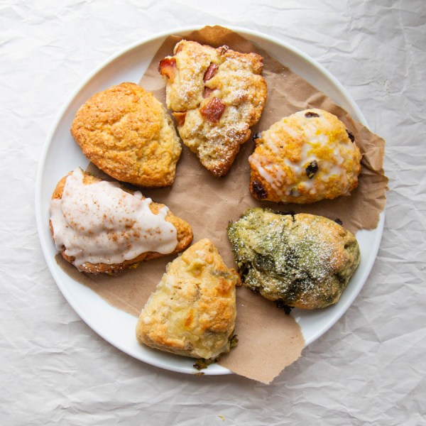 six the musical scones on a plate