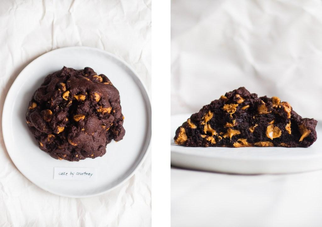 levain dark chocolate peanut butter cookie cake by courtney