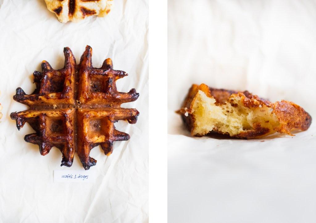 a whole liege waffle next to part of a liege waffle