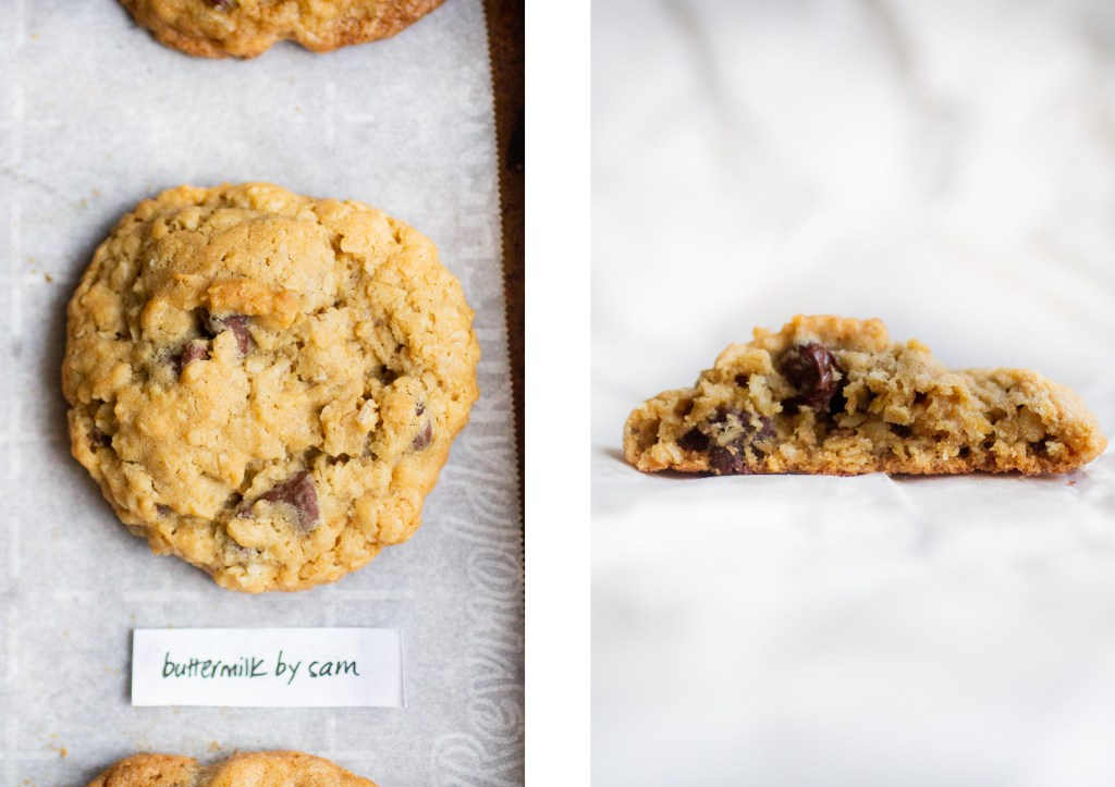 chunky oatmeal cookie next to cross-section of oatmeal cookie