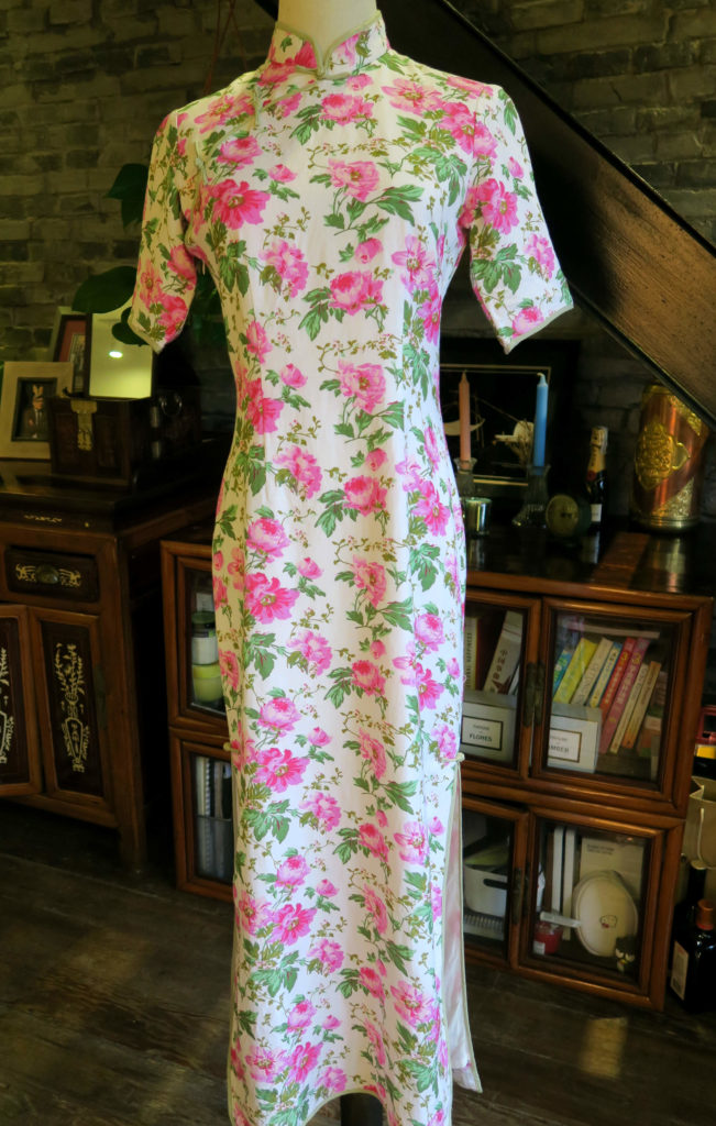 The full front view of the magenta floral qipao.