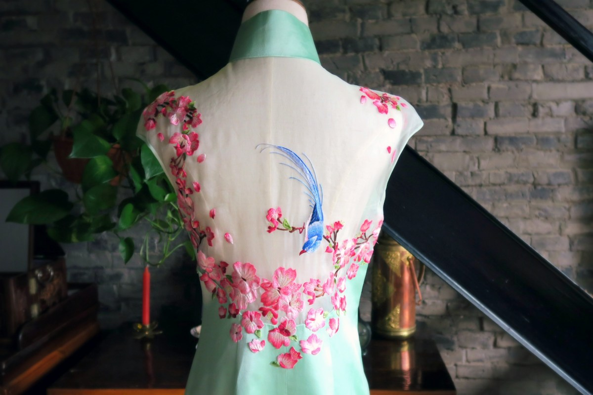 A mint green modern wedding qipao (cheongsam)