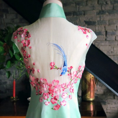 Back view of my mint and magenta modern wedding qipao