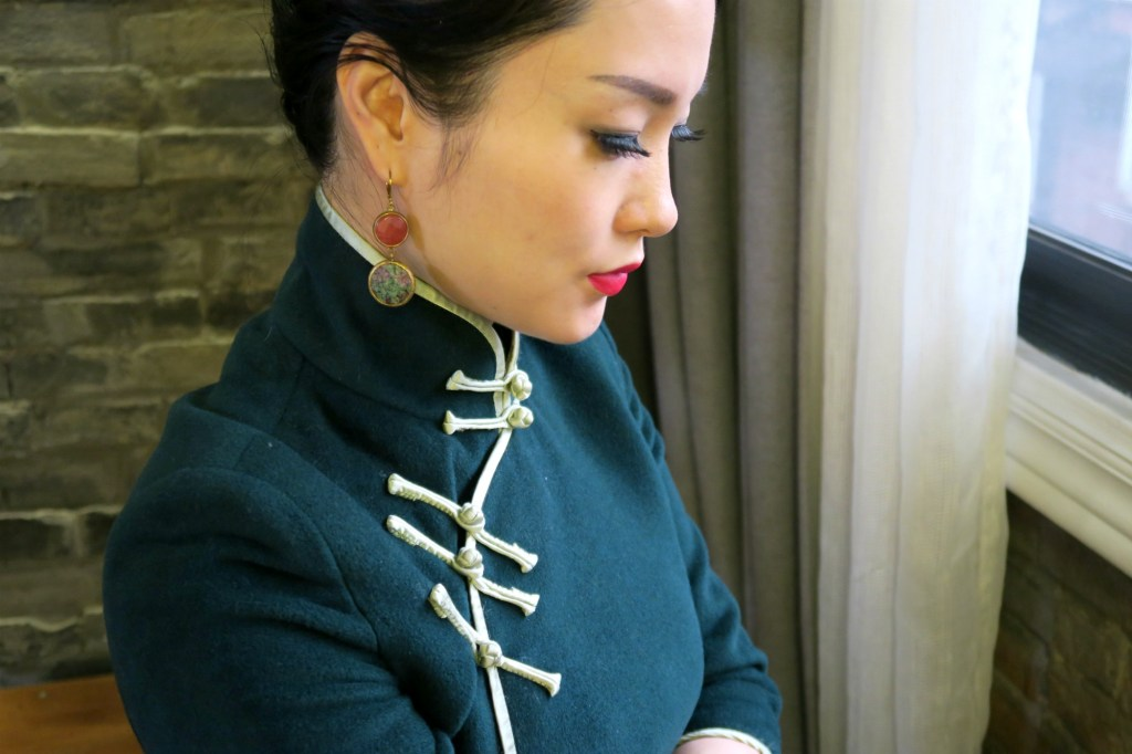 Wearing my forest green cashmere winter qipao with some earrings that I brought back from Turkey a few years back.