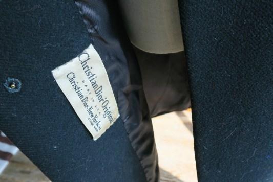 Vintage black 1950s bell shaped Christian Dior coat