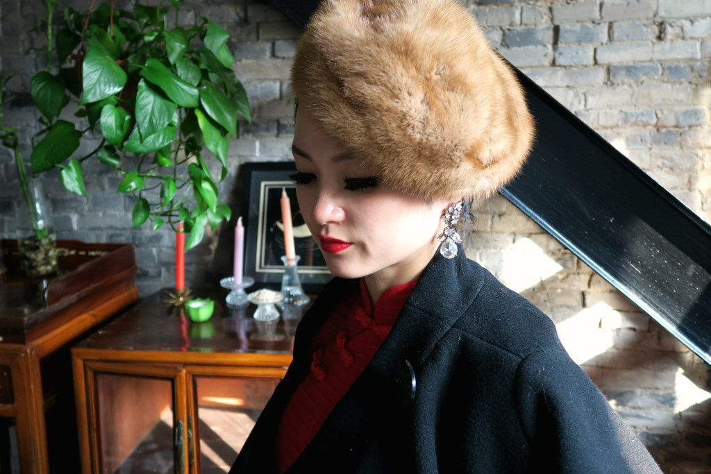 Red stretch wool qipao with vintage Dior coat and fur hat