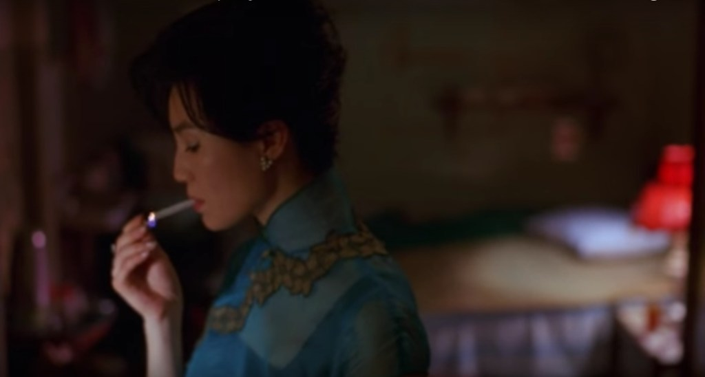 """Obsessed with """"In the Mood for Love""""? The blue chiffon with lace qipao (cheongsam) from the complete list of 20 qipaos from the film. Click the link for more -"""