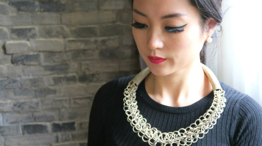Front view of me wearing my silver Chinese Miao necklace