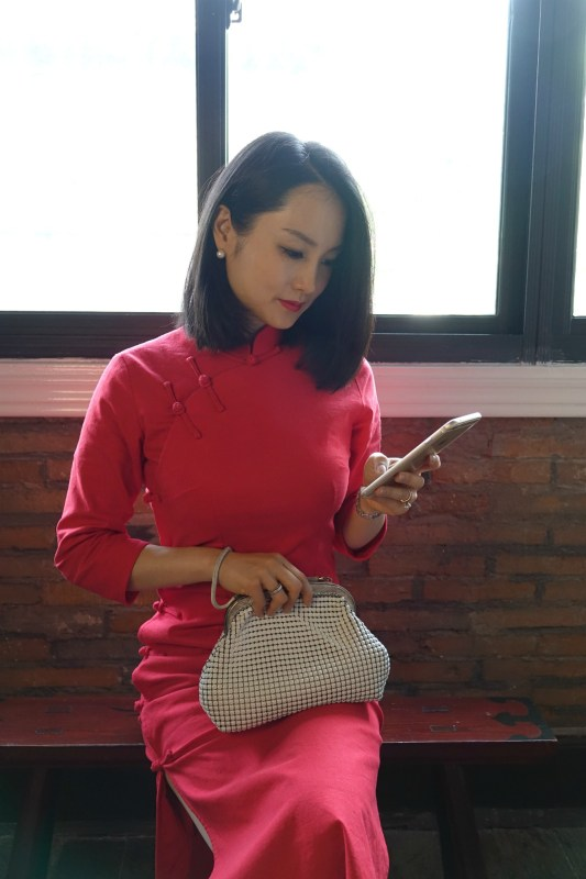 Oroton 60s vintage mesh bag with red qipao diagonal sitting