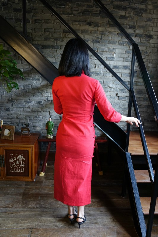 Wearing my traditional red qipao cheongsam with chanel slingbacks - back view