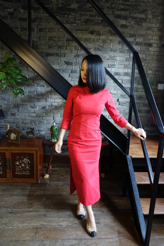 Wearing my traditional red qipao cheongsam with chanel flats