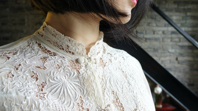 Vintage chic with an embroidered qipao (cheongsam) blouse