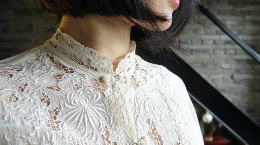 Wearing my vintage qipao cheongsam top close up view