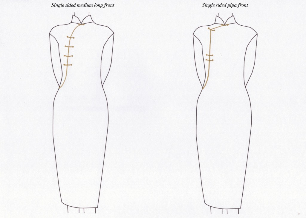 Waist length round and angular front (chest opening) for qipao
