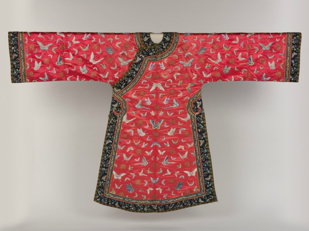Qing dynasty red brocade ceremonial robe