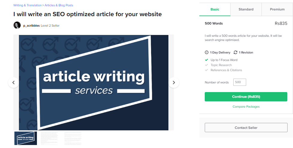 Rank Gigs on Fiverr, Article Writing.