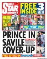 Daily Star Sunday Newspaper Front Page (UK) for 12 May 2013