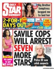 Daily Star Sunday () Newspaper Front Page for 13 January 2013