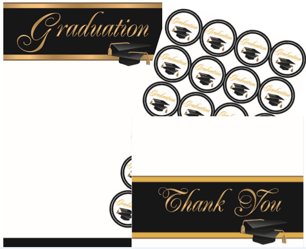 graduation invitation kit gold