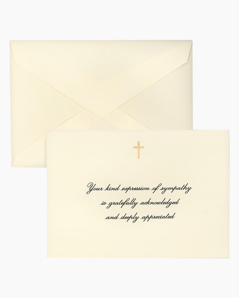 gold cross sympathy acknowledgement