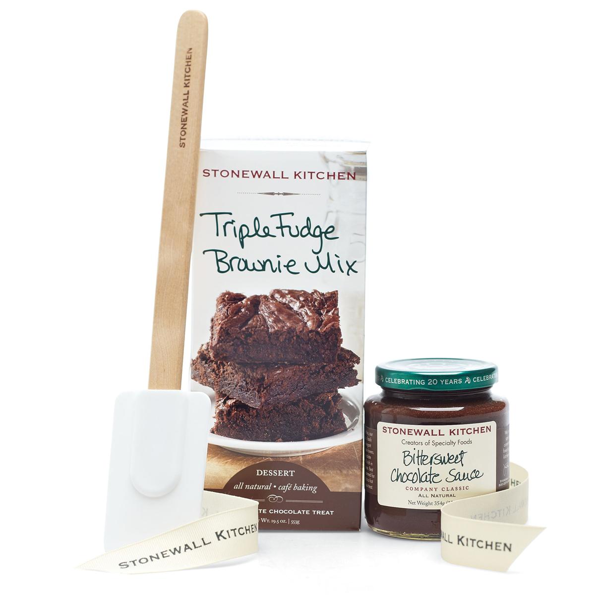 stonewall kitchen dark chocolate sea salt caramel sauce liquidation cabinets triple fudge brownie grab and go set