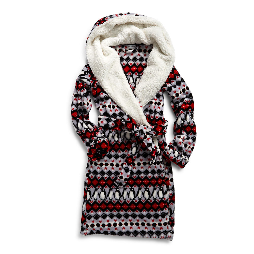 Vera Bradley Hooded Fleece Robe In Penguin Intarsia The