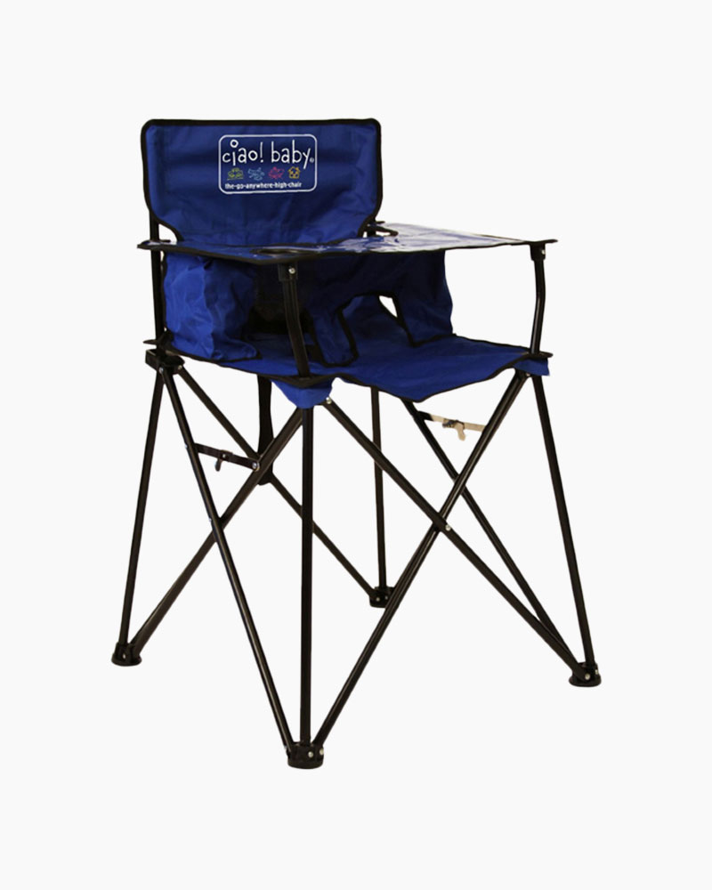 baby camping high chair that turns into bed ciao portable in blue the paper store