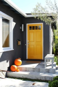 Gray house yellow door