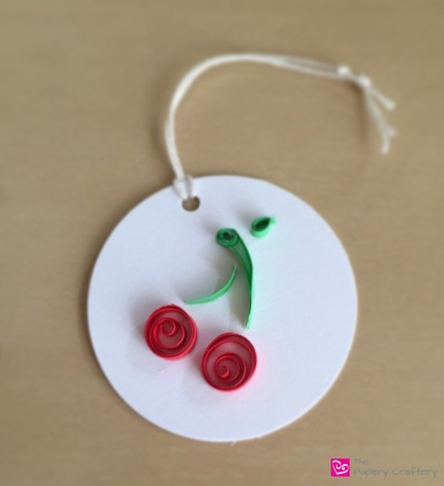 Cherry with Stem and Leaf Paper Quilling Gift Tag