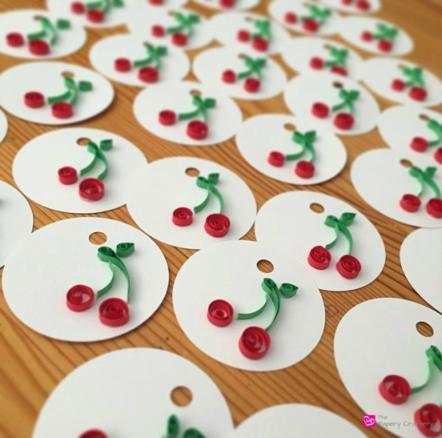 Paper Quilling Cherry with Stems and Leaves Gift Tags