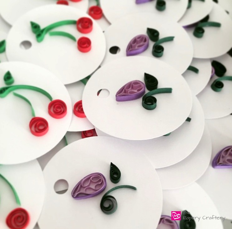 Cherry and Purple Flower Bud Quilled Paper Gift Tags