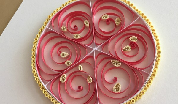 Handmade quilled paper grapefruit citrus fruit art