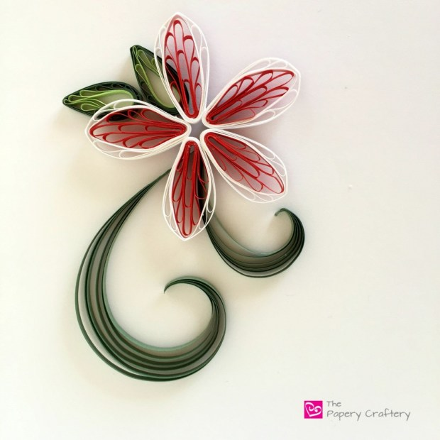 QuillingPaperRedAndWhitePlumeria How to make simple quilling paper flowers - plumeria and lilacs