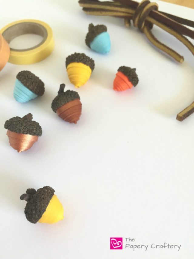 Decorating with Quilling Paper Acorns