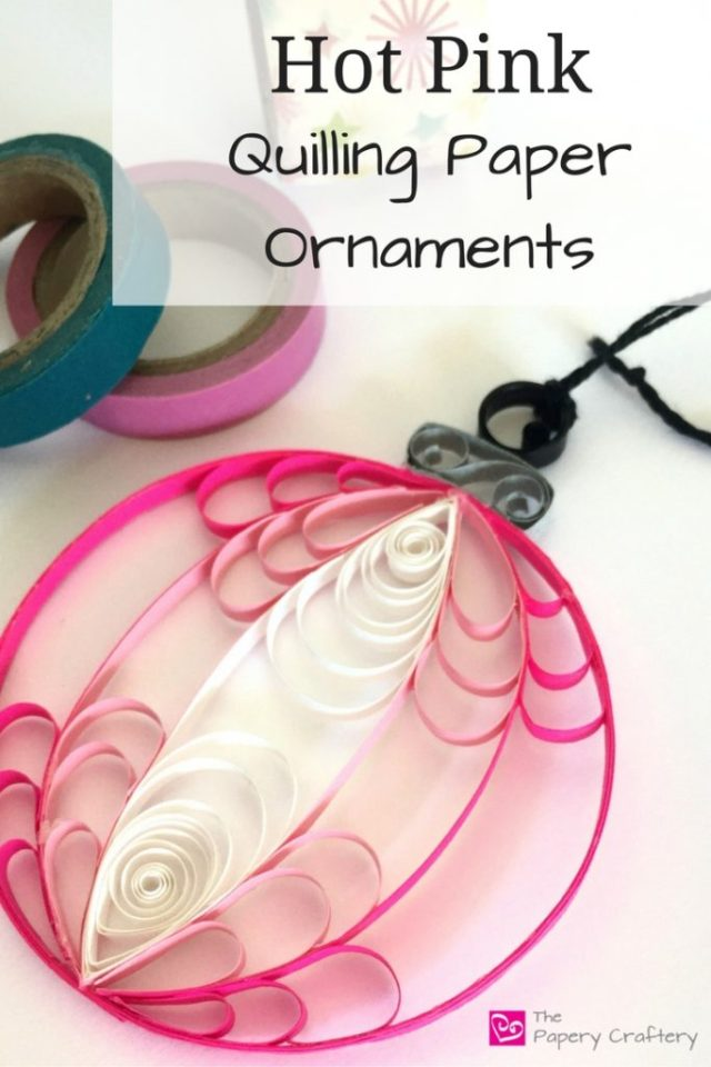 Hot Pink Quilling Paper Christmas Ornaments for a bright and modern addition to your holiday tree! || www.thepaperycraftery.com