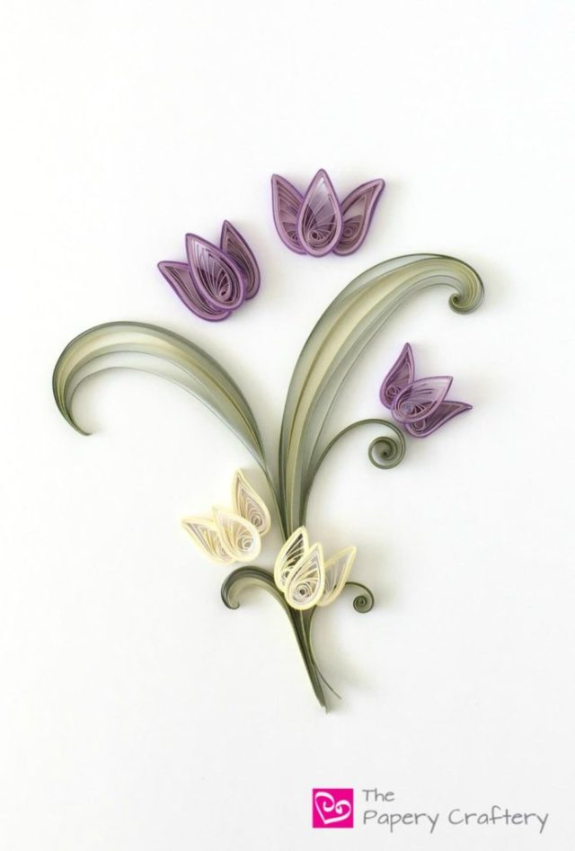 Quilling Paper Tulips ~ The perfect spring craft for quilling beginners! || www.thepaperycraftery.com