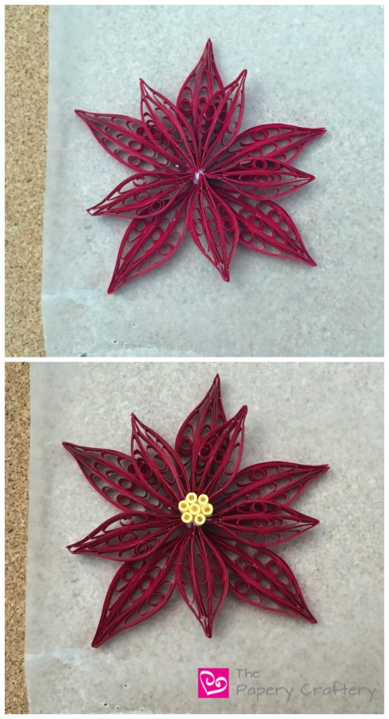 Quilling Paper Poinsettia Flowers _ Use a quilling comb to make traditional holiday blooms! __ www.thepaperycraftery.com