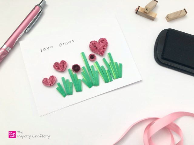 Quilling Paper Valentine's Day Card with Fringed Hearts - Send a garden of hearts to your love with this simple quilling card || www.ThePaperyCraftery.com